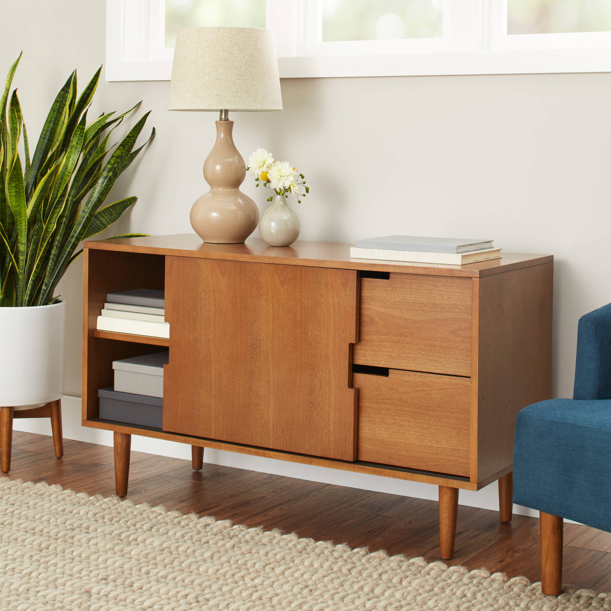Better Homes and Gardens Flynn Mid Century Modern Credenza, Pecan on consoles and credenzas, made in usa modern credenzas, country style credenzas, modern sideboards with sliding door, modern sideboards and hutches, industrial modern credenzas, post modern credenzas,