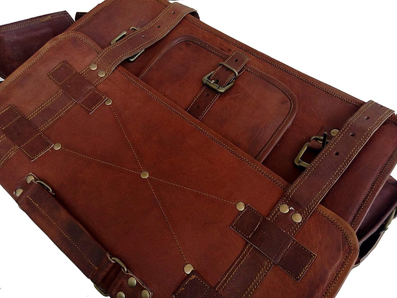 """18/"""" Men/'s Vintage Brown Satchel Leather Messenger Bag Shoulder Laptop Briefcase"""