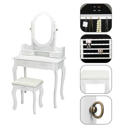Hilitand Stylish Carved Design Four-drawer Dresser with Stool, Single Mirror Jewelry Cabinet, White