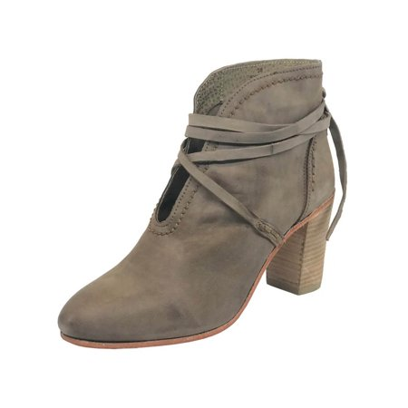 People Leather - Free People Womens Wrap Around Heel Boot Leather Closed Toe Ankle Fashion Boots