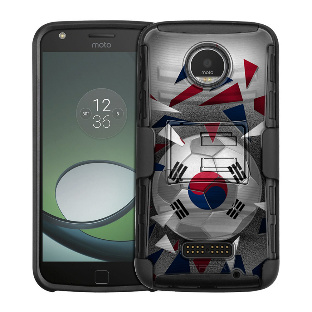 Motorola Moto Z Play Armor Hybrid Case Soccer Ball Korea Flag by Trek Media Group