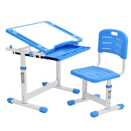 Hemousy Kids Desk Children Writing Student Desk Drafting Table Height Adjustable Study Table and Chair with Drawers Storage - Blue