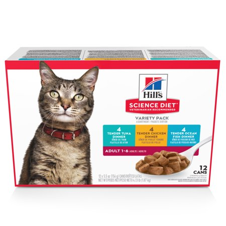 (12 Pack) Hill's Science Diet Adult Savory Entree Variety Pack Wet Cat Food, 5.5 oz. - Halloween Entrees For Adults
