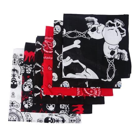 HDE 6-Pack Variety Print Bandanas [Skulls and Paisley] Head Wrap Doo Rag