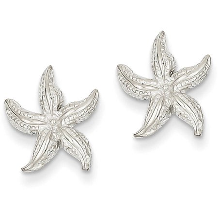 14k White Gold Polished & Textured Starfish Post Earrings
