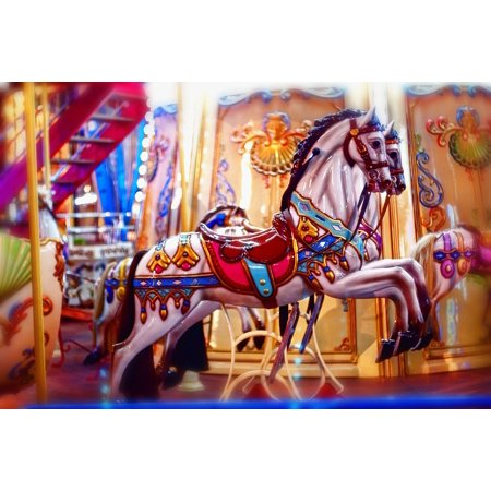 Framed Art for Your Wall Carnival Entertainment Carousel Toy Horses 10x13 Frame