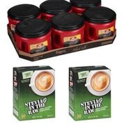 Canister Combo Package (Folgers Coffee Combo 6-24.2oz Black Silk Coffee Canister & 2-50ct Stevia In The Raw )