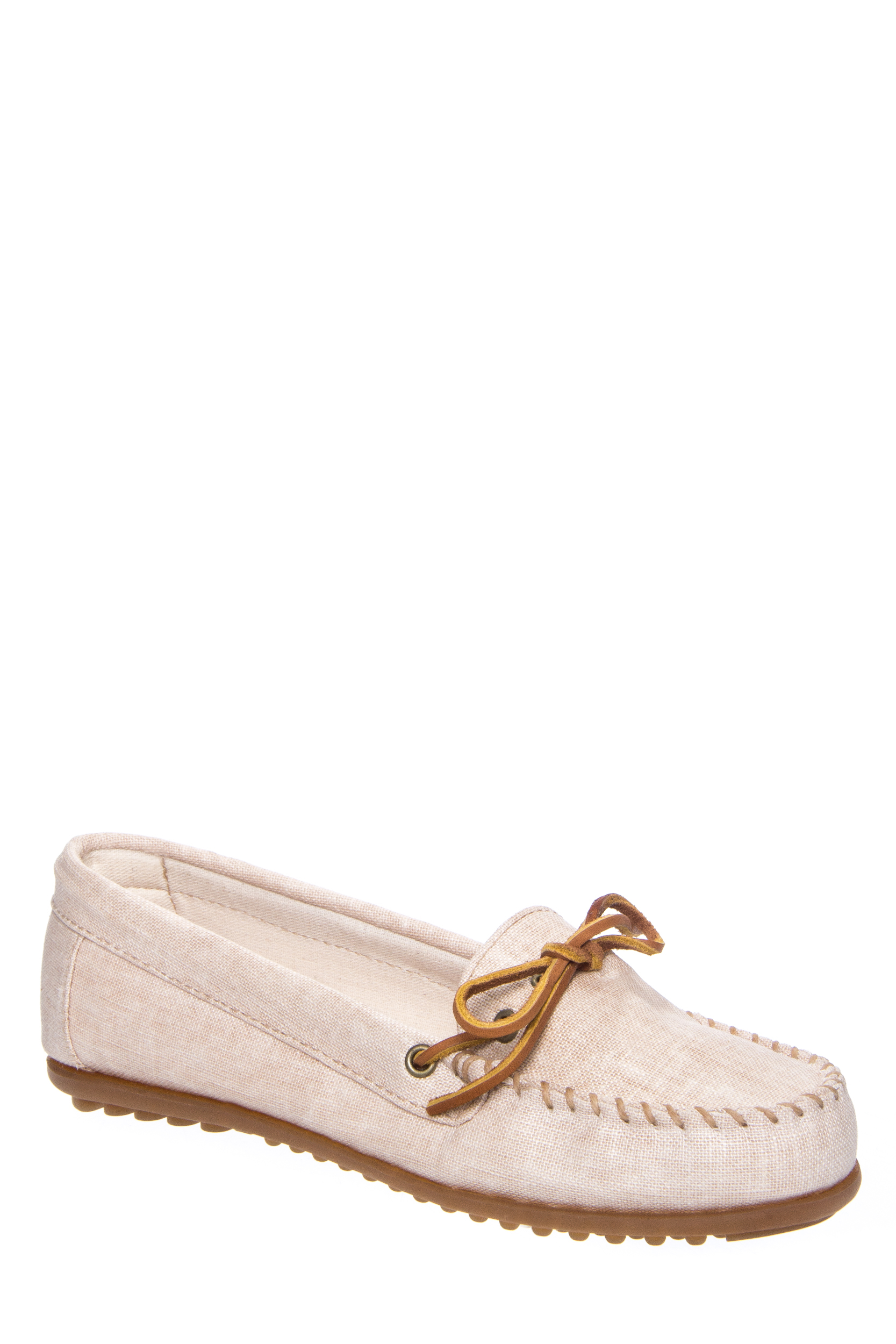 Click here to buy Minnetonka 231 Canvas Moccasin Flat Shoe Natural.