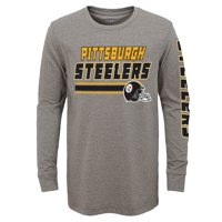 a8dc9695416 Product Image Youth Gray Pittsburgh Steelers Tri-Blend Long Sleeve T-Shirt