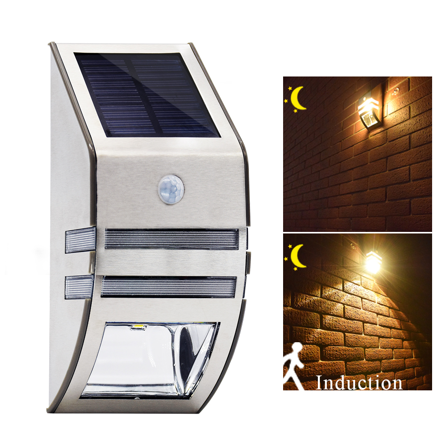 Stainless Steel Waterproof PIR Motion Sensor LED Solar Light Garden Yard Outdoor Wall Lamp Pathway Porch Security Light (Warm White)