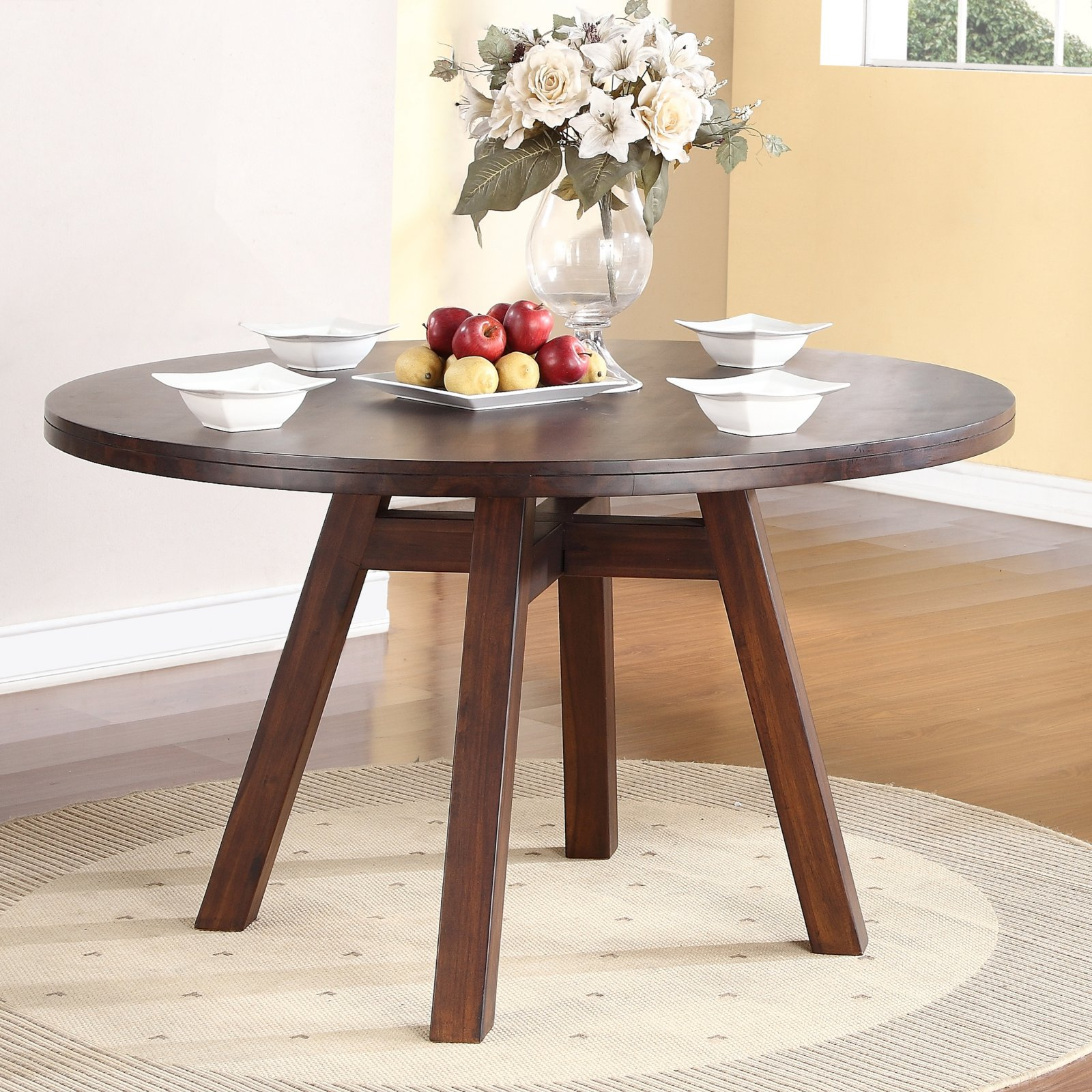 modus portland solid wood round dining table - medium walnut