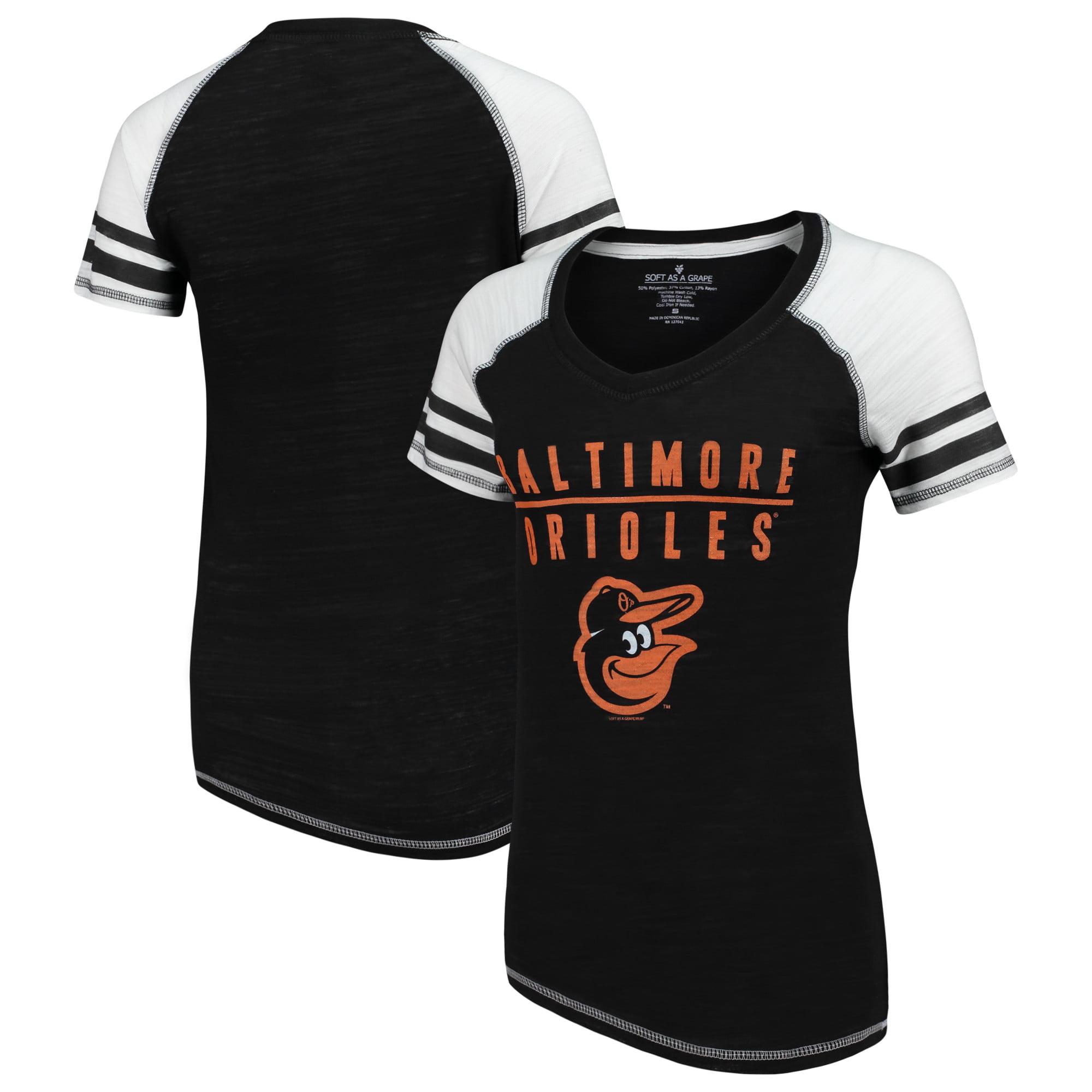 Baltimore Orioles Soft as a Grape Women's Color Block V-Neck T-Shirt - Black