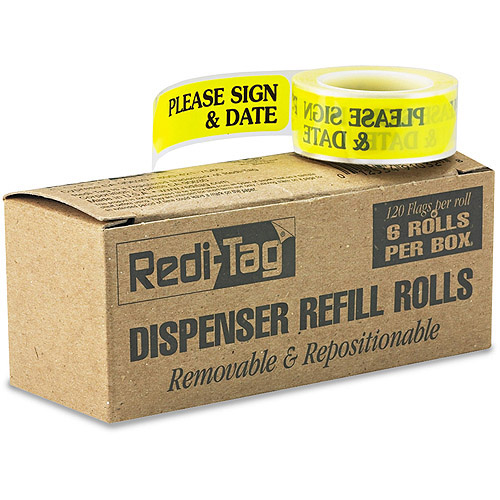 "Redi-Tag Message Arrow Flag Refills, ""Please Sign and Date"", Yellow, 6 Rolls of 120 Flags"