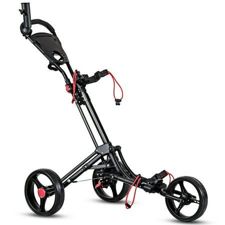 Costway Foldable 3 Wheel Steel Golf Pull Push Cart Trolley Club w/ Umbrella