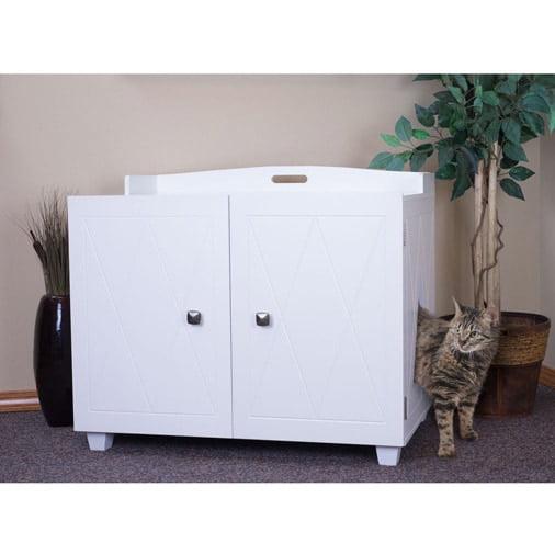 furhaven enclosed cat litter box and bench white. Black Bedroom Furniture Sets. Home Design Ideas