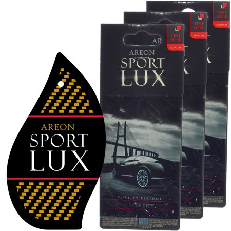 Cat Perfume (Areon Sport LUX Quality Perfume/Cologne Cardboard Car Air Freshener, Silver -3PK )