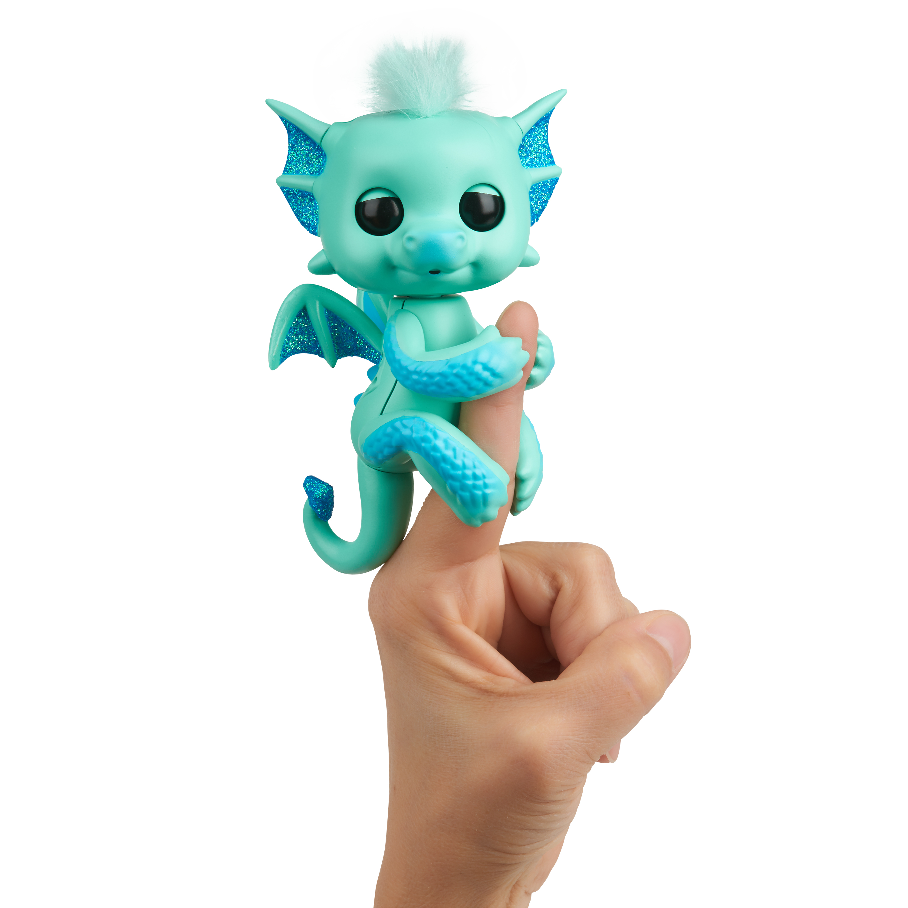 Fingerlings - Glitter Dragon - Noa (Green with Blue) - Interactive Baby Collectible Pet - By WowWee