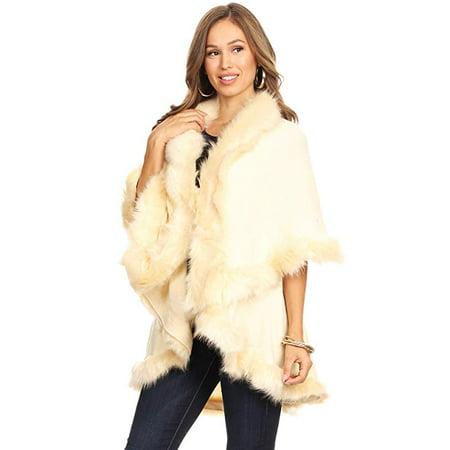 - Women's Luxury Bridal Faux Fur Shawl Wraps Cloak Coat Sweater Cape