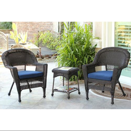 3-Piece Espresso Wicker Patio Chairs and End Table Furniture Set - Blue Cushions