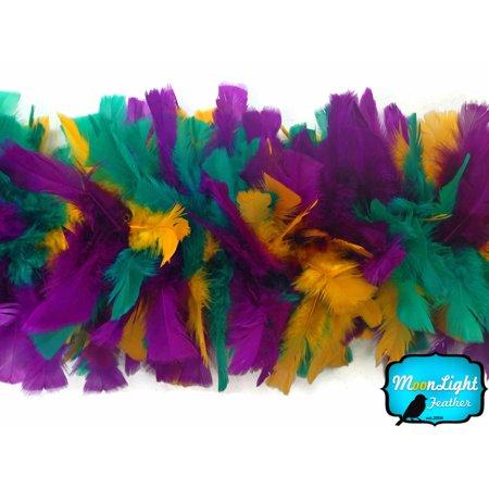 2 Yards - Mardi Gras Turkey Flat Feather Boa, 150 Gram