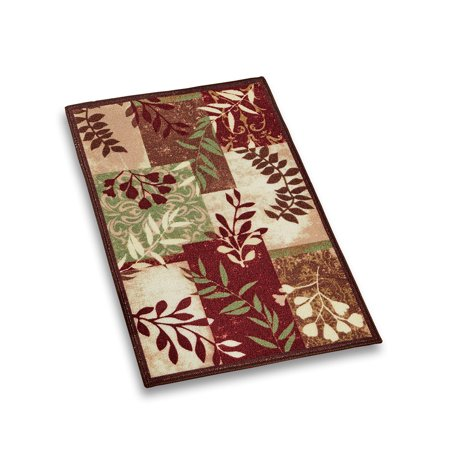 Foliage Patchwork Accent Throw Rug, Silhouette Branches in Rich Colors, 20