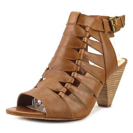 Vince Camuto Elika Women Open-Toe Leather Brown Slingback Heel