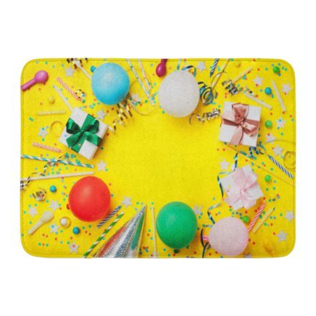 GODPOK Birthday Party with Colorful Balloon Confetti Silver Star Carnival Cap Candy and Streamer Flat Lay Rug Doormat Bath Mat 23.6x15.7 inch](Balloons And Streamers)