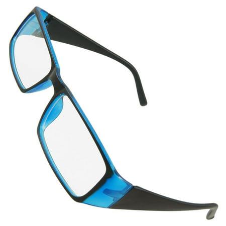 Women Blue Black Plastic Full Frame Clear Lens Plano Glasses (Women Spectacles)