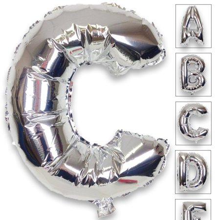 Just Artifacts Shiny Silver (30-inch) Decorative Floating Foil Mylar Balloons - Letter: C - Letter and Number Balloons for any Name or Number Combination! - Name Ballons
