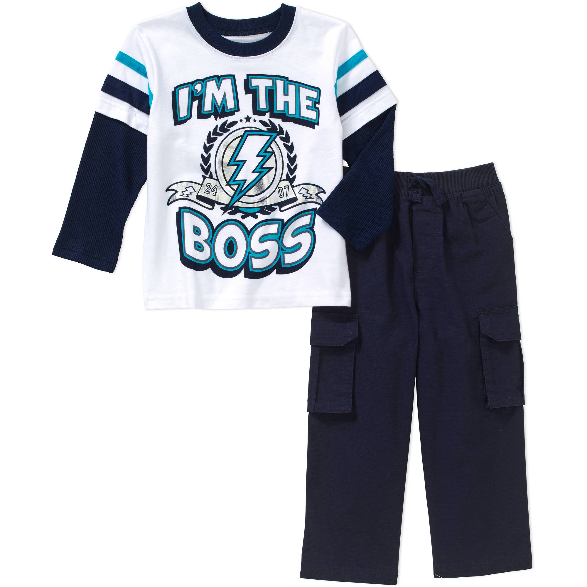 Garanimals Baby Toddler Boys' Long Sleeve Graphic Hangdown Tee and Cargo Pants 2-Piece Outfit Set