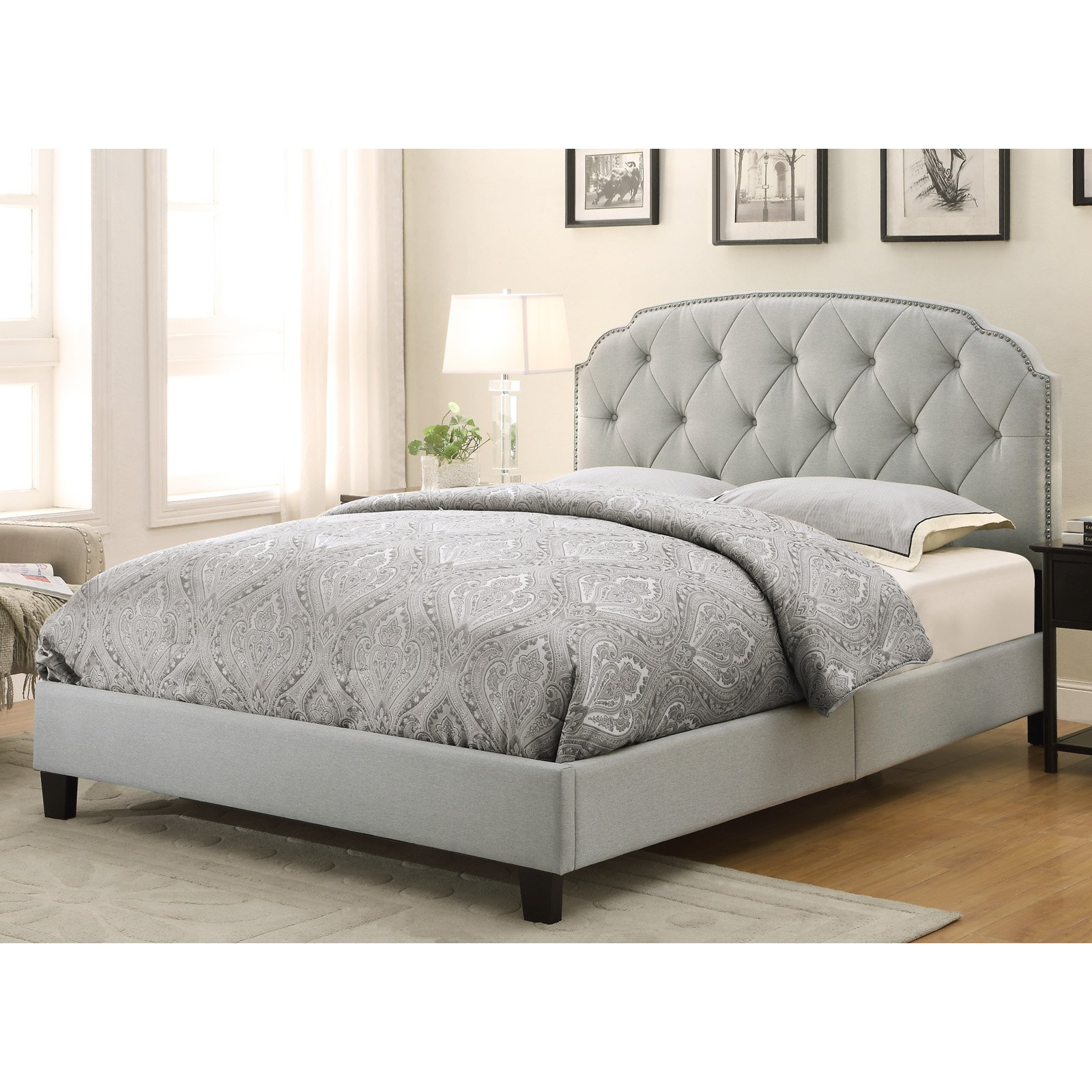 Trespass Marmor Tufted Nail Head Upholstered Bed - Queen