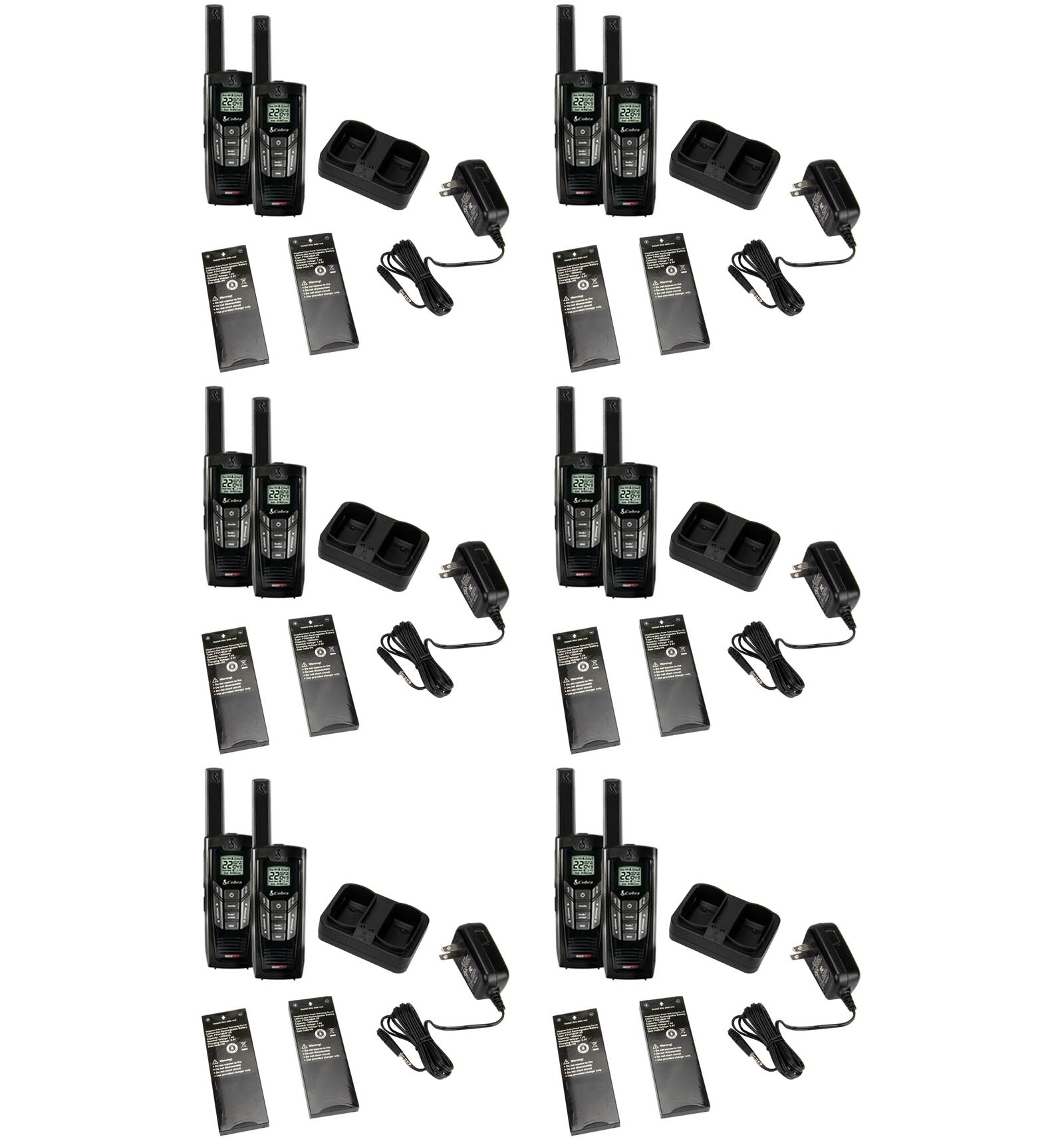 New! (12) COBRA CXR-925 35 Mile 22 Channel Walkie Talkie 2-Way Radios w  NOAA by Cobra
