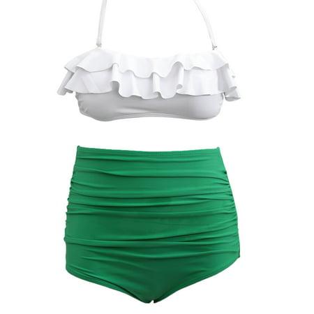 Vintage Ruffle High Waist Bikini Swimwear Women Swimsuit Bathing Suit Swimsuits Sexy Women Swimsuit Bikini Set White   Blue