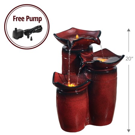 Peaktop - Outdoor 3-Tier Glazed Pots Fountain - Gradient Red (Four Pot Wall Fountain)