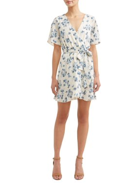 e0526c537d4 Product Image Women s Ruffled Front Layover Dress. Product Variants  Selector. White Blue Floral