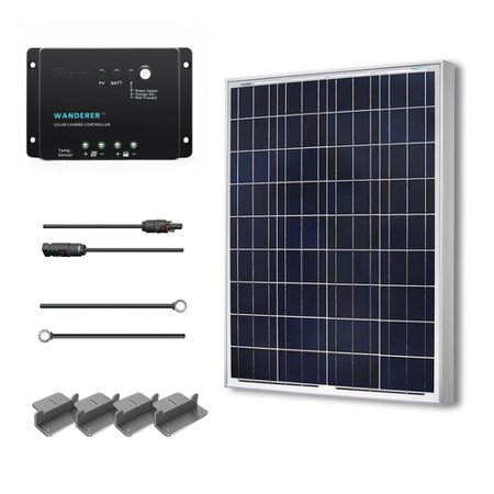 Renogy 100W 12V Solar Panel Polycrystalline Off Grid Starter Kit with Wanderer Charger Controller