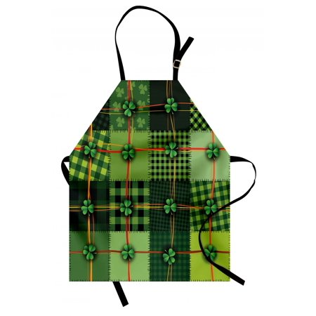 Irish Apron Patchwork Style St. Patrick's Day Themed Celtic Quilt Cultural Checkered with Clovers, Unisex Kitchen Bib Apron with Adjustable Neck for Cooking Baking Gardening, Multicolor, by Ambesonne](Irish Theme)
