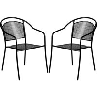 A Line Furniture Tiffany Black Curved Back Stackable Patio Arm Chairs