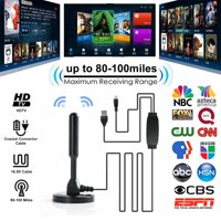 Fysho Newest 2019 Amplified HD Digital TV Antenna Long 80-100 Miles Range – Support 4K 1080P VHF UHF Freeview Local Channels, With Amplifier Signal Booster & 16.5ft Coax Cable