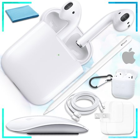Genuine AirPods with Wireless Charging Case (2nd Generation) with Magic Mouse, 2nd Gen Pencil, USB Power Adapter, Bonus USB to Light Cord, Extreme Airpod protective Case (White) Ultimate Bundle