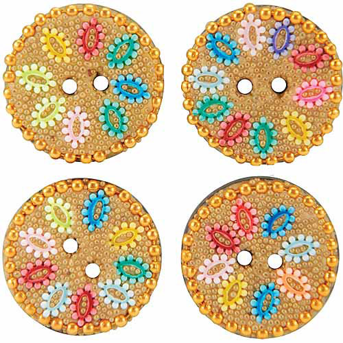 Vision Trims Handmade Glass Buttons, 4pk
