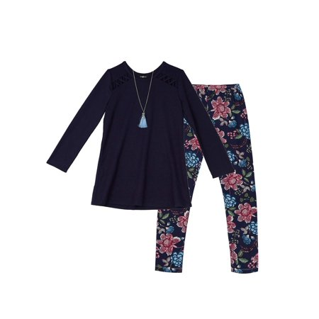 Girl's Two-Piece Long-Sleeve Top and Floral Leggings Set