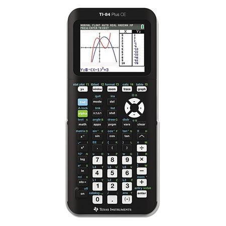 Texas Instruments TI-84 Plus CE Graphing Calculator Complete school work and other calculations quickly using this Texas Instruments TI-84 Plus CE Graphing Calculator, Black. It allows users to visualize concepts clearly and make faster, stronger connections between equations, data and graphs in full color. The Texas Instruments graphing calculator is electronically upgradeable, which allows one to have the most up-to-date functionality and software applications. The built-in MathPrint functionality allows the input and viewing of math symbols, formulas and stacked fractions exactly as they appear in textbooks as well. Advanced functions can be accessed through pull-down display menus. This Texas Instruments TI-84 Plus CE Graphing Calculator in Black even has horizontal and vertical split-screen options for different orientation choices.