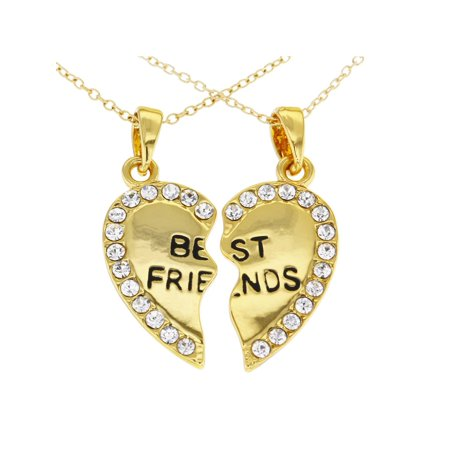 95c6512735ea In Season Jewelry - 14k Gold Plated Best Friends Forever Clear Crystals Heart  Necklace Pendant 19