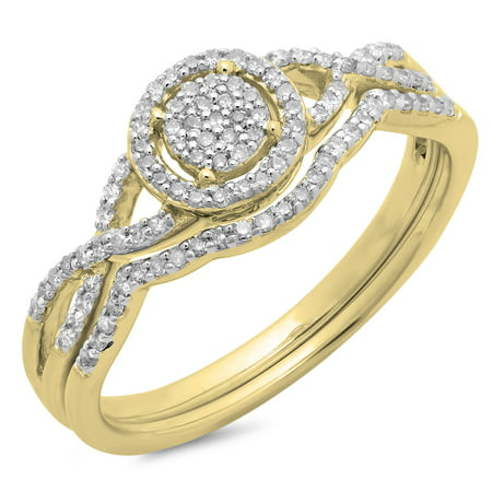 Dazzlingrock Collection 0.25 Carat (ctw) 10K Diamond Twisted Split Shank Engagement Ring Set 1/4 CT, Yellow Gold, Size 7 10k Good Luck Ring