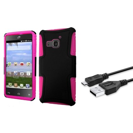 Insten Hard Dual Layer Plastic Silicone Case For Huawei Magna   Black Hot Pink    Micro Usb Data Charge Cable