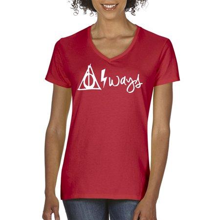 New Way 837 - Women's V-Neck T-Shirt Harry Potter Always Hallows Lightning Bolt Small (Harry Potter Spells Lightning Bolt T Shirt)