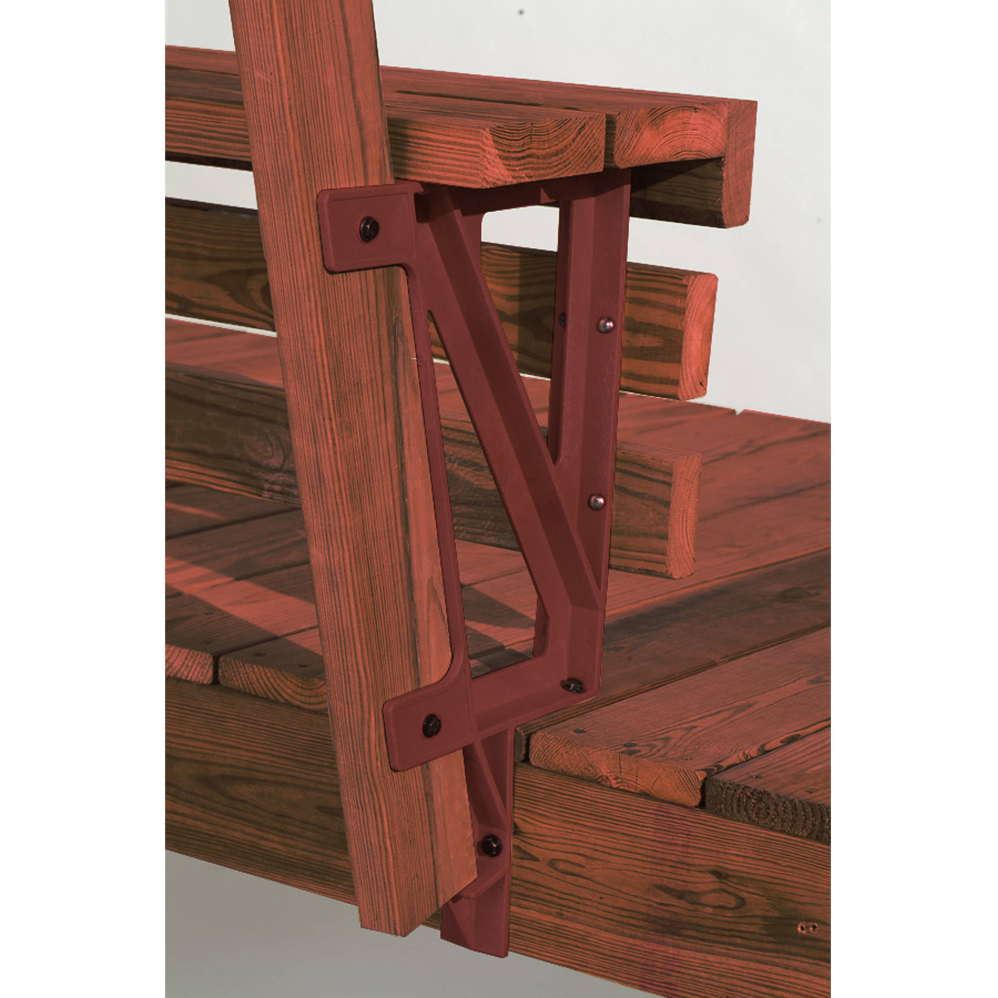 Image of 2x4 Basics Dekmate Bench Bracket, Redwood, 2-Pack