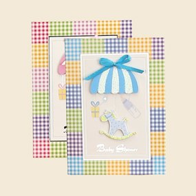 Baby Shower Baby Boy Horse Theme 3D Invitations Spanish 10 Ct