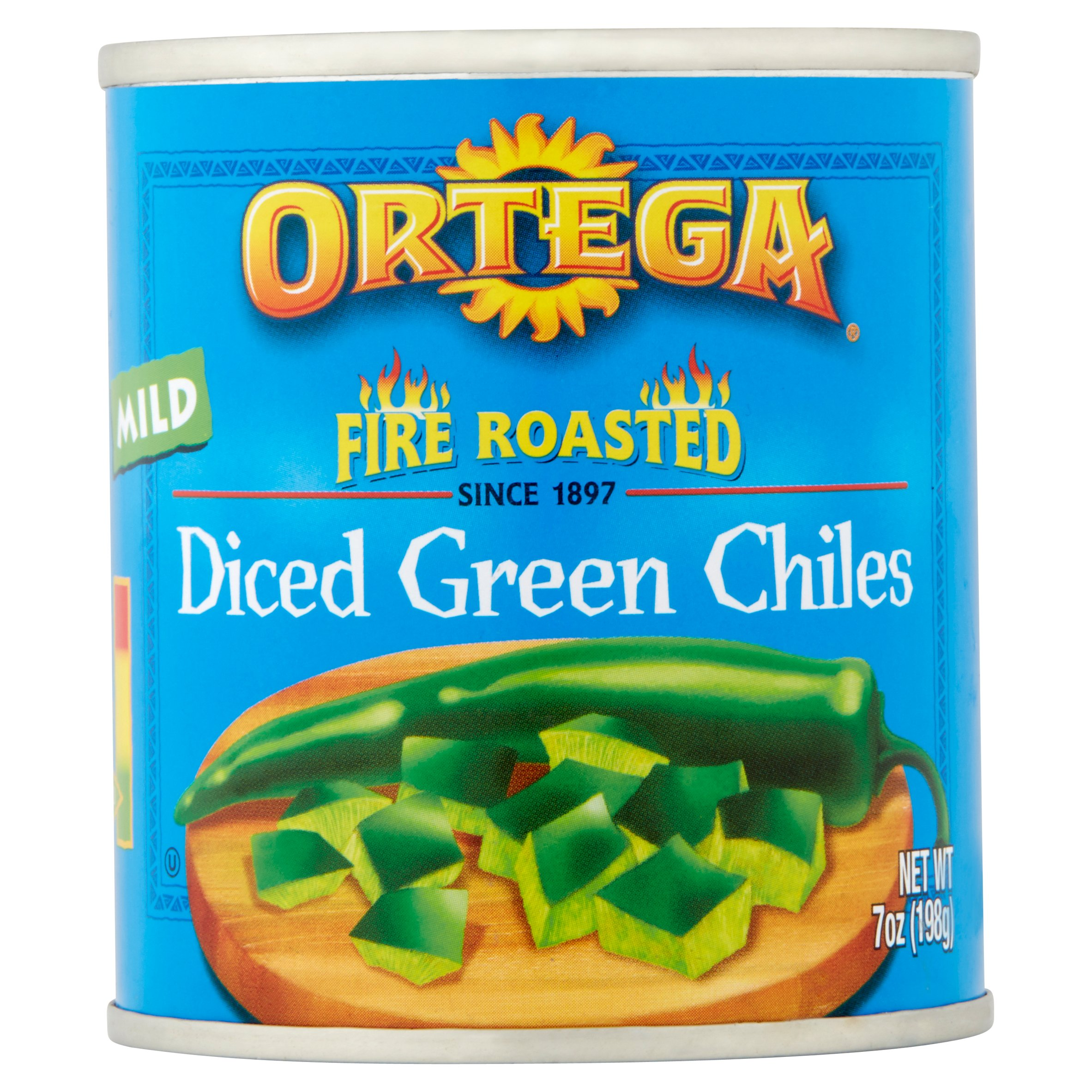 Ortega Fire Roasted Diced Green Chiles Mild, 7.0 OZ